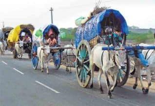 திருவிழாவுக்கு மாட்டு வண்டி பயணம் பாரம்பரியத்தை மறக்காத பக்தர்கள்