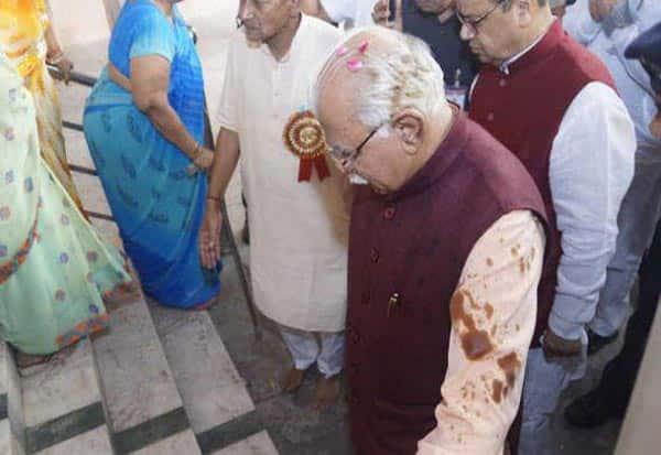 ஹரியானா மாநிலம், முதல்வர் மனோகர் லால் கட்டர், போலீசார் விசாரணை, ஹரியானா முதல்வர் மீது மை வீச்சு,  Haryana State ,Chief Minister Manohar Lal Khattar, police investigation,