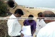 கடற்கரை கோவிலுக்கு ஆபத்து: அதிகாரிகள் ஆய்வு