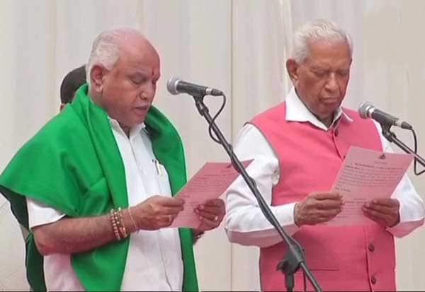 எடியூரப்பா, கர்நாடக முதல்வர், பதவியேற்பு