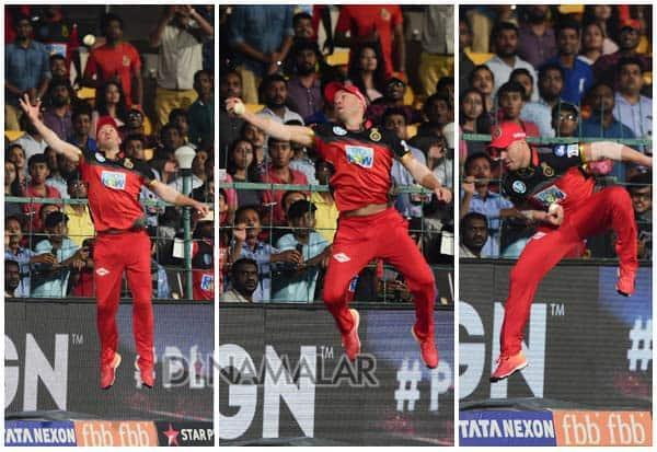 Indian Premier League 2018, RCB vs SRH ,Royal Challengers Bangalore win, இந்திய பிரீமியர் லீக் 2018,  விவோ ஐபிஎல் கிரிக்கெட், ஐபிஎல் 2018, ஐபிஎல் கிரிக்கெட் 2018, ஐதராபாத் , ராயல் சாலஞ்சர்ஸ் பெங்களூரு, டிவில்லியர்ஸ் கேட்ச்,AB de Villiers catch,  Vivo IPL Cricket, IPL 2018, IPL Cricket 2018, Hyderabad, Royal Challengers Bangalore,
