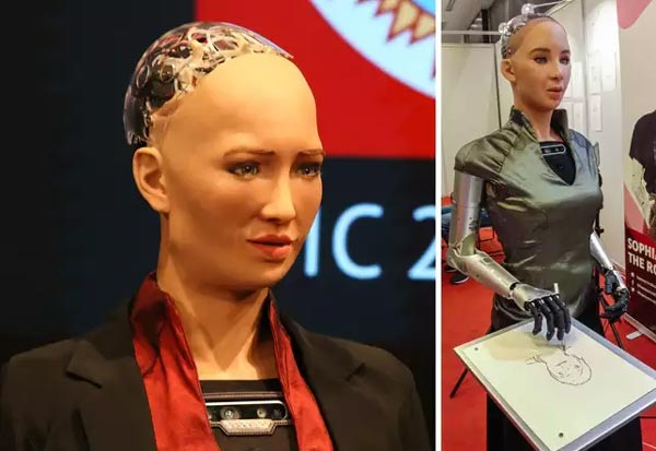 robot,Sophia,attends,conference,India,இந்தியா