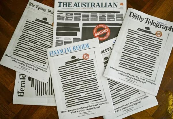 Australia,newspapers, redact, front pages