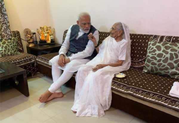 Gujarat,Prime Minister,Narendra Modi,meets,mother,residence,Gandhinagar