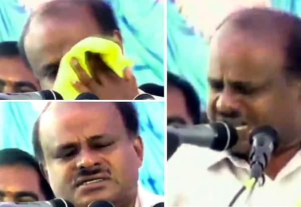 தேர்தல் பிரசார மேடையில் குமாரசாமி கண்ணீர் விட்டு அழுதார்