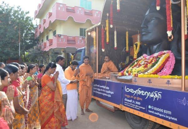 ஆதியோகி சிலைக்கு சாணக்யா மெட்ரிக் பள்ளியில் வரவேற்பு