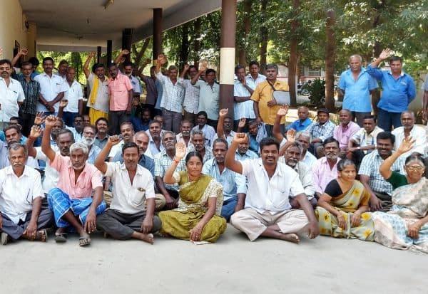 அமராவதி ஆலை தொழிலாளர்கள் தொடர் போராட்டம் : மூன்று மாத சம்பள நிலுவை வழங்க வலியுறுத்தல்