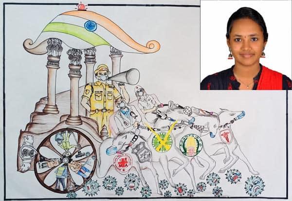 கொரோனா' என்ற மகாபாரத போர்! திருப்பூர் மாணவி அசத்தல் ஓவியம் Tamil_News_large_2521905