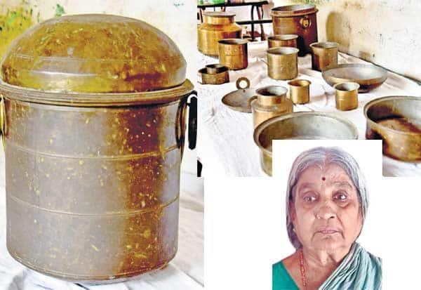 150 ஆண்டு பாரம்பரிய 'ரயிலடுக்கு' பாத்திரம் : பொக்கிஷமாக பாதுகாக்கும் சிவகங்கை மூதாட்டி