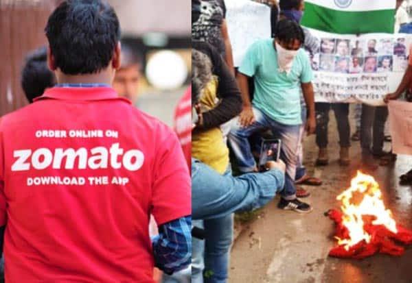 zomato workers, protest, china, india, chinese investment, T-shirts, protest chinese investent, Zomato workers burn company T-shirts, kolkata, west bengal, india, india-china face off, ladakh, eastern ladakh, border clash, Behala, Chinese major Alibaba,'சொமேட்டோ'  பணியாளர்கள், பணி விலகல், சீன முதலீடு, போராட்டம்