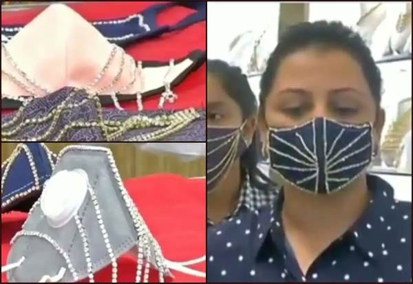Surat, corona, coronavirus, covid-19, corona cases, corona update, face mask, corona crisis, covid 19 pandemic, worldwide crisis, Diamond Mask, Studded, Jewellery Shop, சூரத், வைரம், மாஸ்க், விற்பனை