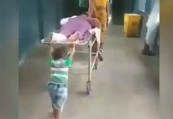 Pushing, Grandfather, Stretcher, UP Hospital