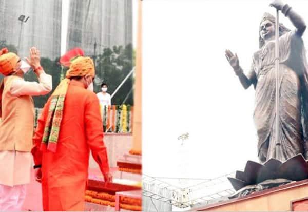 bharatha matha, statue, bronze, bhopal, mp, Madhya Pradesh, CM Shivraj Singh Chouhan, Bharat Mata, Shaurya Smarak, Bhopal, பாரத மாதா, வெண்கல சிலை, 37 அடி உயரமம், திறப்பு, மாநில முதல்வர், போபால்