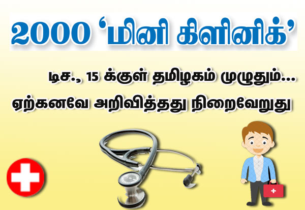 Mini Clinic, Tamil Nadu, RPS, TN_CM, மினி கிளினிக், பழனிசாமி, தமிழகம்