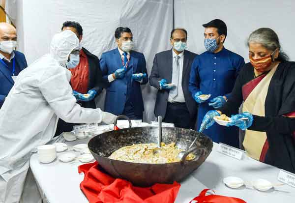 Halwa Ceremony' being held at Finance Ministry to mark the beginning of printing of documents relating to Union Budget 2021-22.