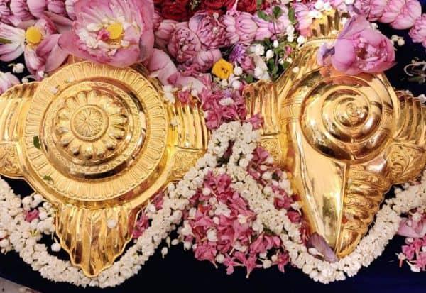 ஏழுமலையானுக்கு சங்கு சக்கர தங்க கவசங்கள் போடியில் தரிசித்த பக்தர்கள்