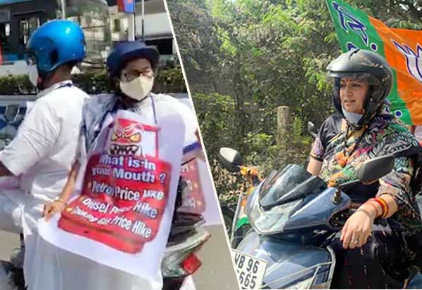 Smriti Irani Rides A Scooter In Bengal, Day After Mamata Banerjee