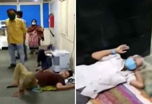 corona patients, lying, floor, treatment