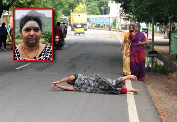 மக்கள் சுபிட்சமாக வாழ 14 கி.மீ., அங்கப்பிரதட்சணம் செய்த பெண்