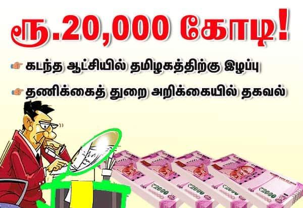 ஆட்சி,தமிழகம்,  ரூ.20,000 கோடி, இழப்பு