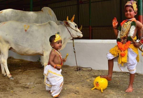 'கொரோனாவிடம் இருந்து காப்பாற்றுவேன்': இஸ்கானில் 'குட்டி கிருஷ்ணர்கள்' சபதம்