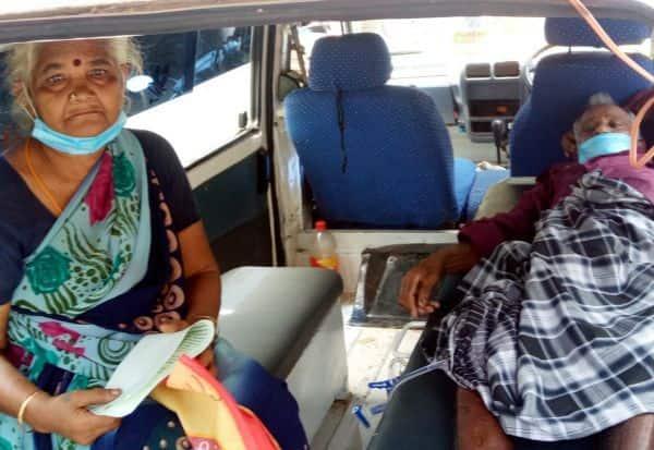 மகனிடமிருந்து சொத்தை மீட்ககோரி ஆம்புலன்சில் வந்து பெற்றோர் புகார்