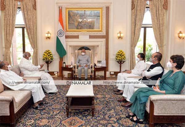 Congress Leaders, President Ramnath Kovind, Lakhimpur Kheri, லக்கிம்பூர், வன்முறை, கலவரம், காங்கிரஸ் தலைவர்கள், குழு, ஜனாதிபதி, சந்திப்பு, கோரிக்கை