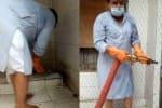 நகராட்சி பெண்கள் கழிப்பறை சுத்தம் செய்த ம.பி., அமைச்சர்