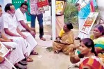 தி.மு.க., பிரசாரத்தில் தரையில் உட்கார்ந்த ஊராட்சி உறுப்பினர்