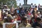 டிராக்டர் பேரணியில் தாக்குதல்: காயமடைந்த போலீசார் போராட்டம்