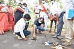 ரோட்டை தோண்டி கலெக்டர் ஆய்வு