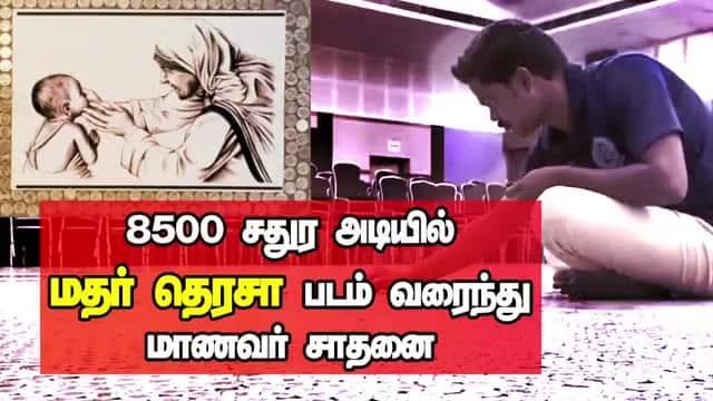 8500 சதுர அடியில் மதர் தெரசா படம் வரைந்து மாணவர் சாதனை