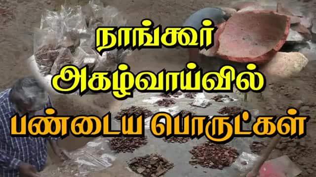 நாங்கூர்  அகழ்வாய்வில் பண்டைய பொருட்கள்